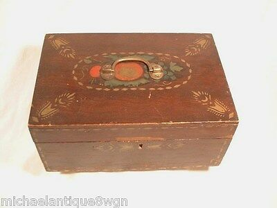 Antique 19Th Century Painted and Stenciled Storage Lock Box