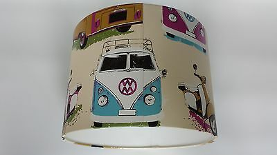 LAMPSHADE made from .VW Volkswagen Camper Vans Scooters - Muriva Wallpaper.