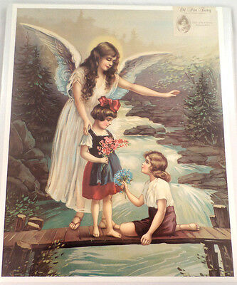"""VICTORIAN LITHOGRAPH PRINT """"GUARDIAN ANGEL ON THE BRIDGE"""" WITH KIDS CHILDREN NEW"""