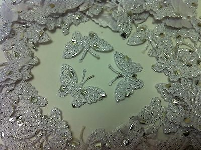 100 White Fabric Glittery Dotted Butterflies for Card, Scrapbooking and Wedding