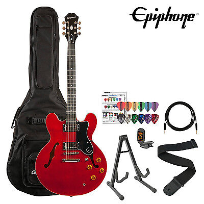 Epiphone Dot Cherry Finish Semi Hollow Electric Guitar Kit w Gig Bag, Stand