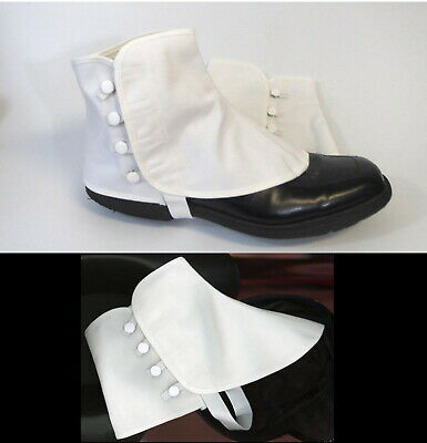 Canvas Spats White Buttons Snaps Elastic Band Under Shoe Covers Size S/M or L/XL
