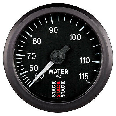 Stack Mechanical Water 52mm Analogue Temp Gauge Black Dial 50-115 C