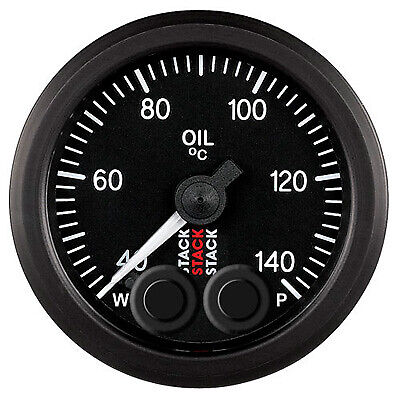 Stack Pro Control 52mm Black Oil Analogue Temperature Gauge 40-140 C