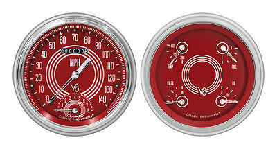 Classic Instruments 51-52 Chevy Car Package w/ V8 Red Steelie Gauges Dash Insert