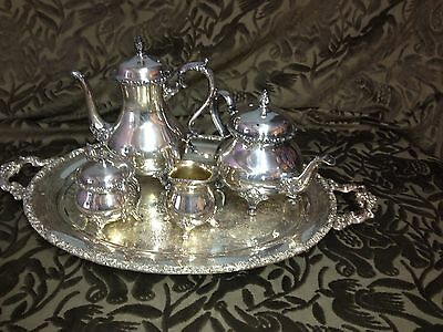 6 PC Vintage International WILCOX SILVERPLATED DU BARRY Floral TEA/COFFEE