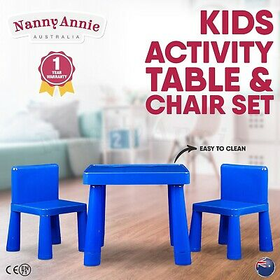 Kids Table & Chair Play Furniture Set Plastic BLUE Activity Dining Chairs