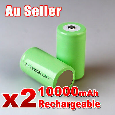2x 10000mah D Size NI-MH Rechargeable Cell Battery 10000-mah NIMH Batteries 1.2V