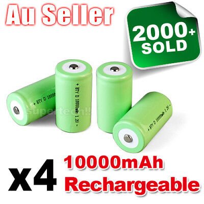 4x 10000mah D Size NI-MH Rechargeable Cell Battery 10000-mah NIMH Batteries 1.2V