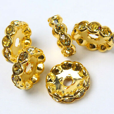 10 Pcs Light Golden Rhinestone Golden Spacer Beads 12Mm