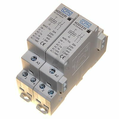 2x 20 Amp Double Pole Contactor 220 - 230V Coil Normally Open 1.2kW - 4kW 20A