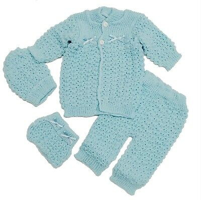 Baby Crochet Boy Blue Hat and Cardigan Sweater Pants Booties 4 Piece Outfit Set