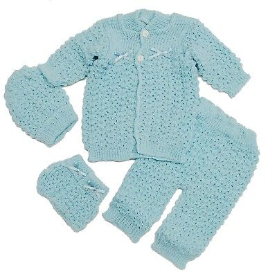 Crochet Set Baby Boy 4 Piece Outfit Sweater,Hat,Booties,Pants Newborn 0-3 Months