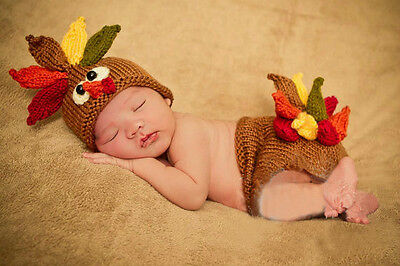 Newborn Baby Turkey Infant Knitted Crochet Costume Photo Photography Prop NL65
