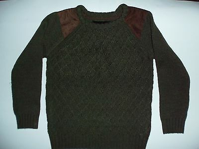 Boys Green Jumper with Brown Suedette detail on Shoulders, Crew Neck from Primak