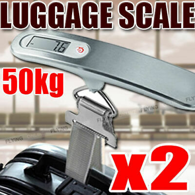 2 X Electronic Portable Digital Luggage Scale Stainless Steel Travel 50 KG Weigh