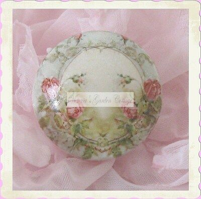 drawer Victorian PINK ROSES Ceramic door cabinet FRENCH chic knob Vintage office