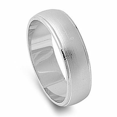 MEN'S 6mm Brushed Wedding Band .925 Sterling Silver Ring Size 6-13