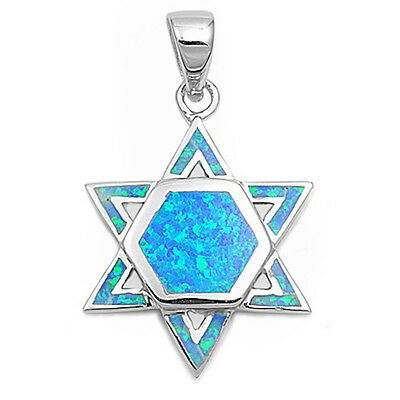 Australian Opal  Texas Star of David .925 Sterling Silver Pendant  FREE SHIPPING