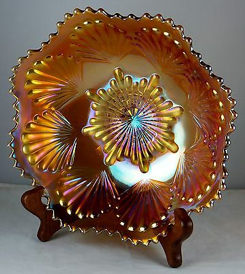 Imperial Vintage Carnival Glass Marigold Shell Bowl - Super Iridescence
