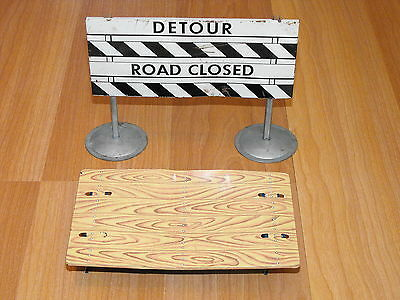Old Vtg Original Tin Litho Instructional Safety Traffic Detour Sign Toy Lot