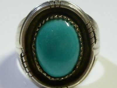 HUGE TURQUOISE STERLING SILVER TURQUOISE WOMENS MENS RING MEXICO MEXICAN s12 1/2