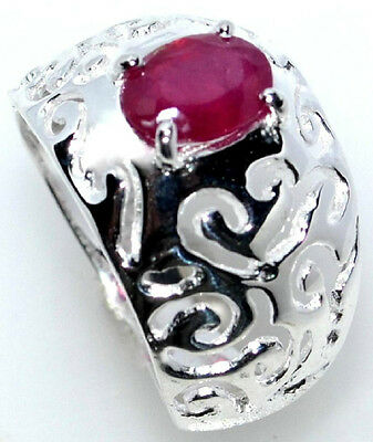 Real RUBY Ring 925 Sterling SILVER Filigree Rings Birthstone Size 5½, L to 10, U