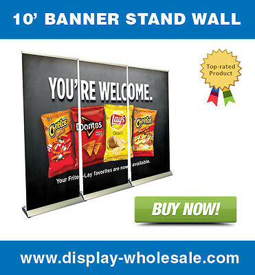 10' Premium Retractable Roll Up Banner Stand Wall + free vinyl print