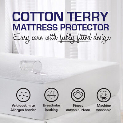 Fully Fitted Waterproof Mattress Protector--Cot/Single/Double/Queen/King/Super K