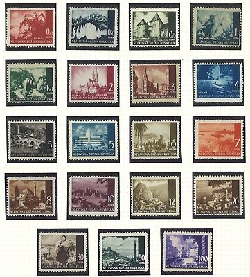 Croatia 1941-1943 Pictorial Definitives 19 Values  Muh- Single Stamps