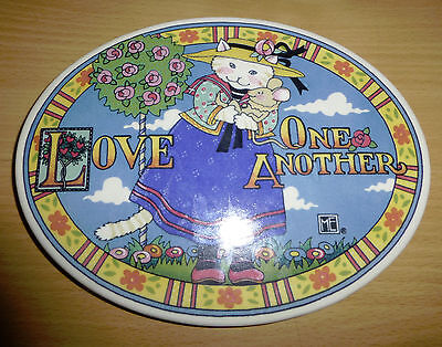 Mary Engelbreit 1994 ME Ink Ceramic Oval Wall Plaque Love One Another Cat