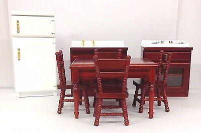 Wooden Dolls House Furniture 8 Piece Kitchen Dining Room Set  1:12 Scale LP16189