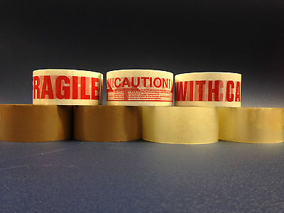Packing Tape 3M Clear Buff / Brown Fragile, Caution, Handle With Care +Tape Guns