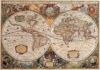 Vintage Map The World Globe POSTER PRINT ART TWG01 A4 A3- BUY 2 GET 1 FREE!!!