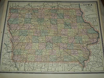 1888 Cram Original Antique  MAP IOWA / MISSOURI  listing Population