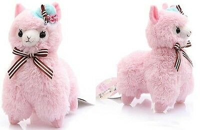 "Japan Amuse Arpakasso Alpacasso Alpaca Plush Doll With Hat Pink Toy 13"" 34cm"