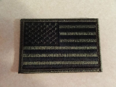 Patch Military Shoulder American Flag Green Black Forward Facing Sew On