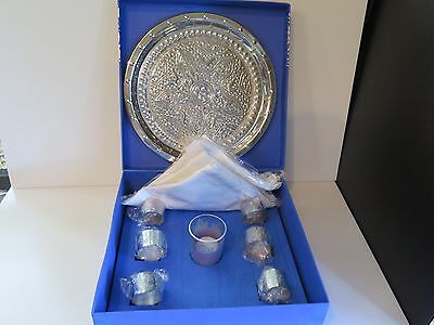 Set Of Six White Serviettes, 6 Silver Plated Serviette Rings & Tray