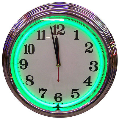 New Neon Lighted Round Standard Clock With Green Neon