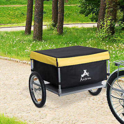 Aosom Bicycle Bike Cargo Trailer Garden Utility Cart Carrier Tool w/ Rain Cover