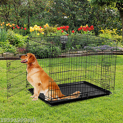 """48"""" x 30"""" x 33"""" Folding Dog Cage Pet Crate Kennel  Metal Wire ABS Pan 2 Doors BK"""