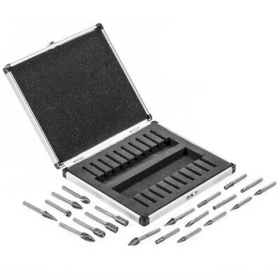 pro 20 Pc Double Cut Carbide Rotary Burr Set Bits: Tree Flame Cone Ball Oval new