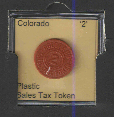 COLORADO '2' PLASTIC SALES TAX TOKEN  WW II 1940s