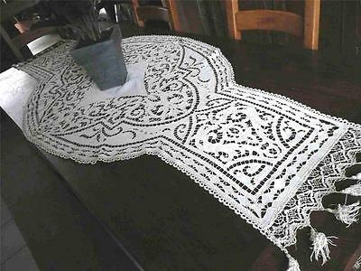 Superb Antique French Richelieu Embroidery Linen Lace 75""