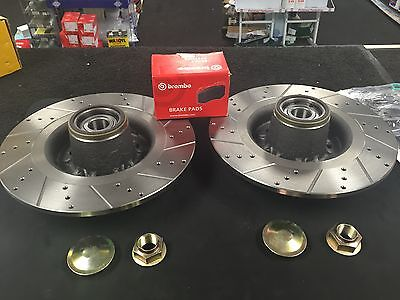 Renault Clio Mk3 Rs 197 Cross Drilled Grooved Brake Disc Brembo Pad Rear