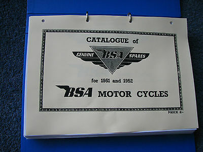 BSA Parts Book 1951-2 models D1 C10 C11 M20 M21 M33 B31 B32 B33 B34 A7 A10 GStar