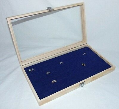 72 Ring Natural Wood Glass Top Jewelry Display Blue