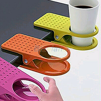 Home Office Room Drink Cup Coffee Holder Water Stand Clip Desk Table Multicolour