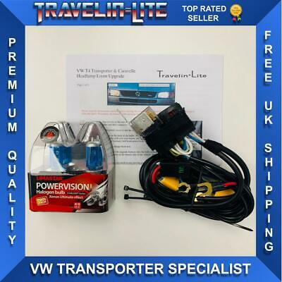 For VWT4 Caravelle/Transporter Upgrade Headlight Harness Loom&Super Bright Bulbs