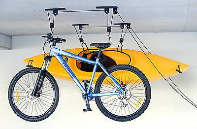 2x BIKE STORAGE HOIST BICYCLE RACK BICYCLE LIFT GARAGE STORAGE HANGING ORGANISER